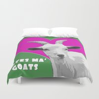 totes Duvet Covers featuring Totes Ma Goats Pink by BACK to THE ROOTS