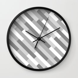 Geometric Diagonals (Grayscale) Wall Clock