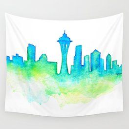 Seattle Skyline Watercolor in Blue and Green Wall Tapestry