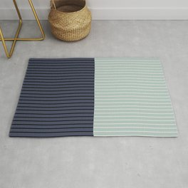 Color Block Lines XI Sage & Blue Rug