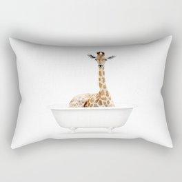 Skeptic Giraffe in a Vintage Bathtub (c) Rectangular Pillow