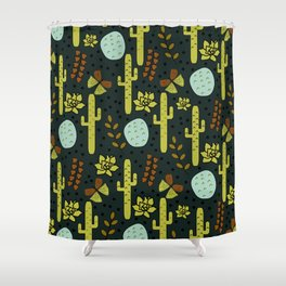 Cacti and butterflies at night Shower Curtain