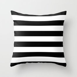 Black White Stripe Minimalist Throw Pillow
