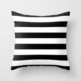Black White Stripe Minimalist Throw Pillow