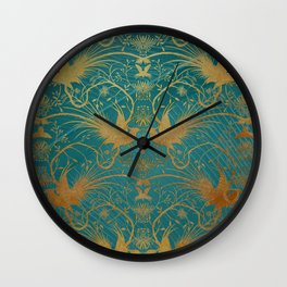 """Turquoise and Gold Paradise Birds"" Wall Clock"