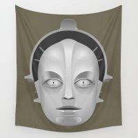 metropolis Wall Tapestries featuring Metropolis Robot by tuditees