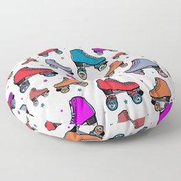 80s retro roller skates, red roller skates, cute pattern Floor Pillow
