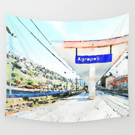 Sign and shelter of the Agropoli rail station Wall Tapestry
