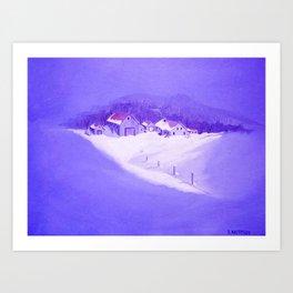 Farm Snow Scene Art Print