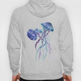 Jellyfish Blue Sea world artwork Aquatic Design, blue room design beach Hoody
