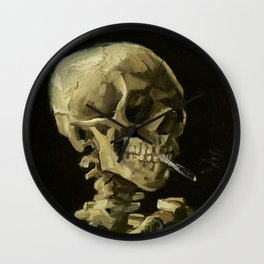 Skull of a Skeleton with Burning Cigarette by Vincent van Gogh Wall Clock