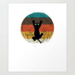 Distressed Circle Retro Graphic Kitten Cat Mom Dad Art Print
