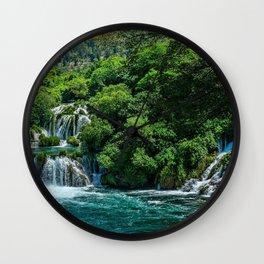 Krka National Park waterfalls beautiful nature Lozovac Croatia Europe forest HDR croatian landmarks Wall Clock
