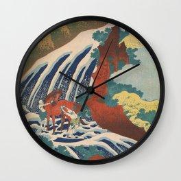 Yoshino Waterfalls Where Yoshitsune Washed his Horse by Katsushika Hokusai Wall Clock