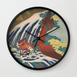 Yoshino Waterfalls Where Yoshitsune Washed his Horse by Katsushika Hokusai Wall Clock