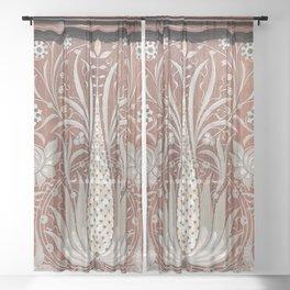 Original, art nouveau, wood work,victorian,chic,elegant,beautiful,vintage,timeless style, modern,classy Sheer Curtain