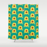 hamster Shower Curtains featuring Sunflower Hamster by Cocomich