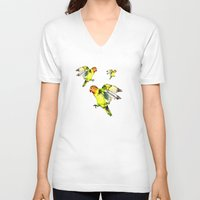 parrot V-neck T-shirts featuring Parrot by cmphotography