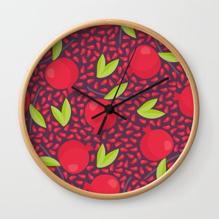 Hand drawn floral elements and garnets Wall Clock