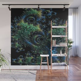 Blue and Turquoise Fractal Wall Mural