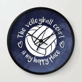 Volleyball court happy place blue abstract Wall Clock
