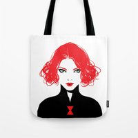 black widow Tote Bags featuring Black Widow by Irene Flores