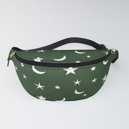 White moon and star pattern on green background Fanny Pack