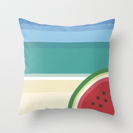 The watermelon on the beach Throw Pillow