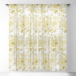 Flower bouquet with poppies - yellow Sheer Curtain