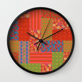 Poppy Fields Faux Patchwork Wall Clock