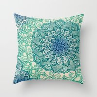 blue Throw Pillows featuring Emerald Doodle by micklyn