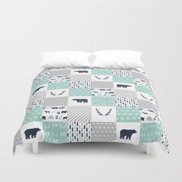 Camper antlers bears pattern minimal nursery basic navy mint white camping cabin chalet decor Duvet Cover
