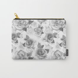 Hand painted black white watercolor roses floral pattern Carry-All Pouch
