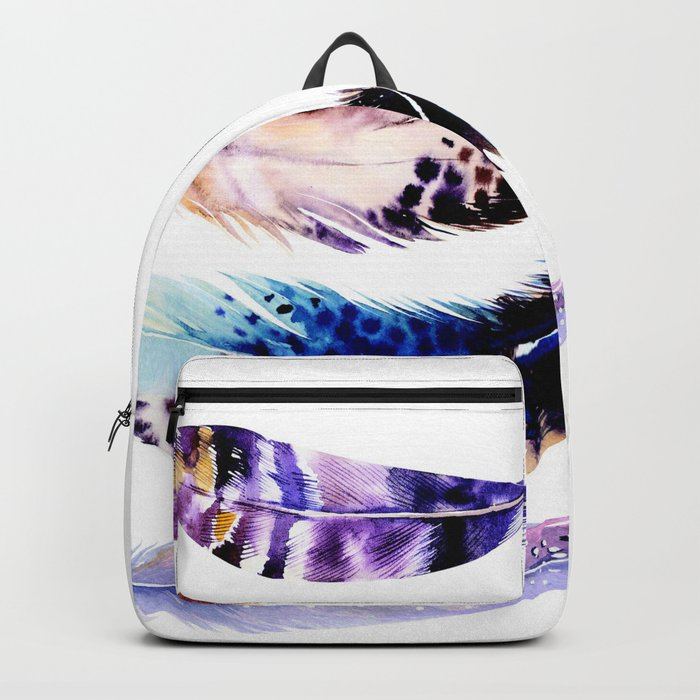 Watercolor Feathers Backpack