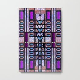 Purple and Blue Art Deco Stained Glass Design Metal Print