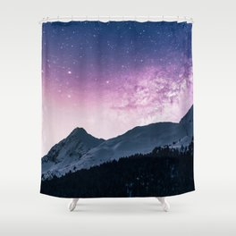 Magic Night Sky - Purple Stars Shower Curtain