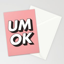 UM OK Pink Black and White Typography Print Funny Poster 3D Type Style Bedroom Decor Home Decor Stationery Cards