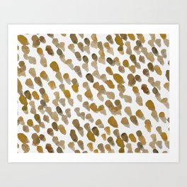 Imperfect brush strokes - ochre and brown Art Print