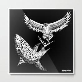 crouching shark hidden eagle ecopop Metal Print
