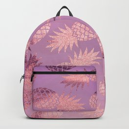 Pretty Pink & Rose Gold Pineapple Pattern Backpack