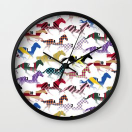 Off to the Horse Races Jockey Silk Pattern Wall Clock