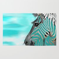 zebra Area & Throw Rugs featuring Zebra  by Saundra Myles