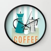 coffee Wall Clocks featuring Coffee by Jenny Tiffany