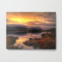 Golden Sunrise Over Loch Ba Metal Print