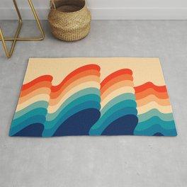 Retro 80s 70s Blue and Orange Mid-Century Minimalist Abstract Art Ripples Rug