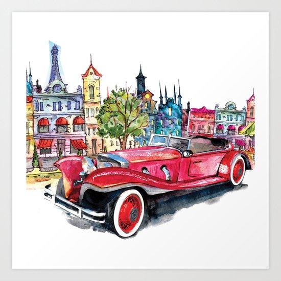 Red antique car Art Print