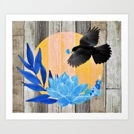 Satin Bowerbird's Blue Love Nest Art Print