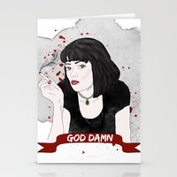 mia wallace Stationery Cards featuring Pulp Fiction's Mia Wallace by raeuberstochter