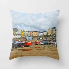 Tenby Harbour . Sunlight. Pembrokeshire. Wales. Throw Pillow