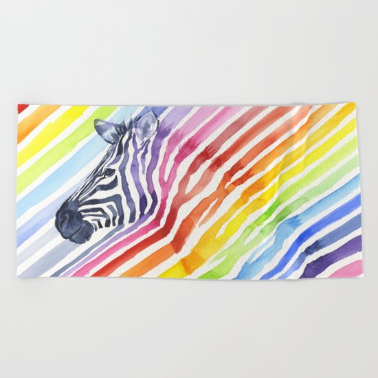 Animal Zebra Rainbow Beach Towel